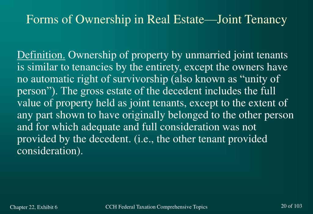 Forms of Ownership in Real Estate—Joint Tenancy
