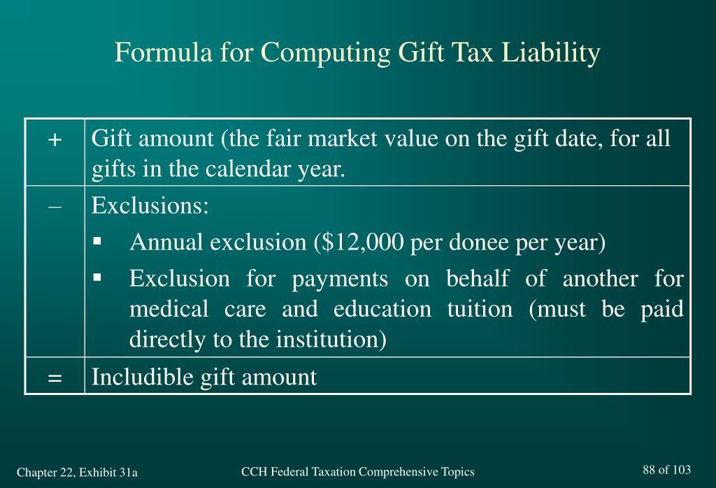 Formula for Computing Gift Tax Liability