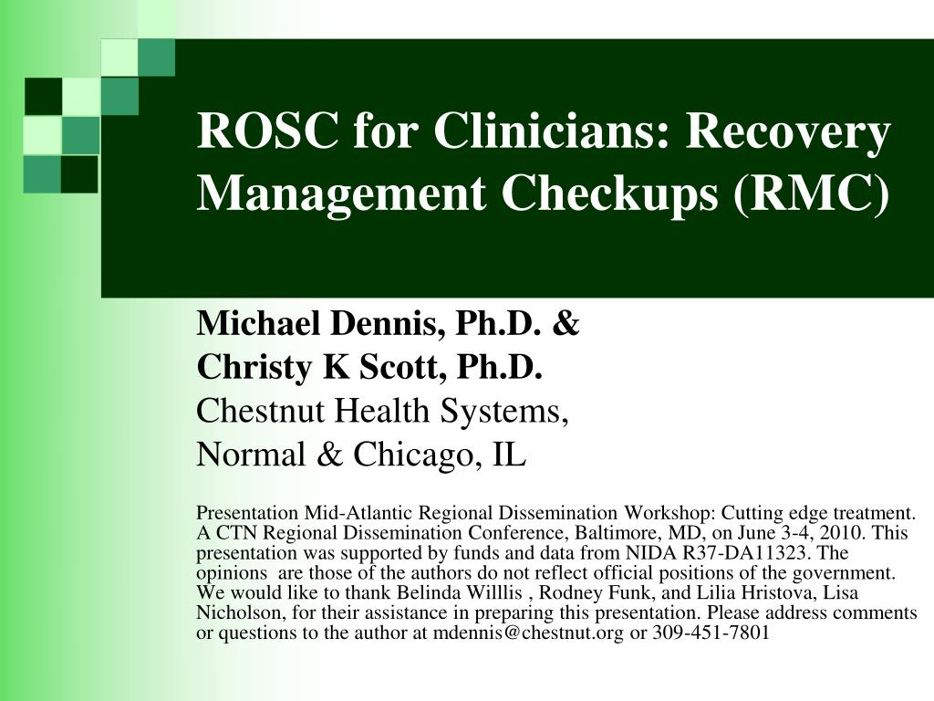 ROSC for Clinicians: Recovery Management Checkups (RMC)