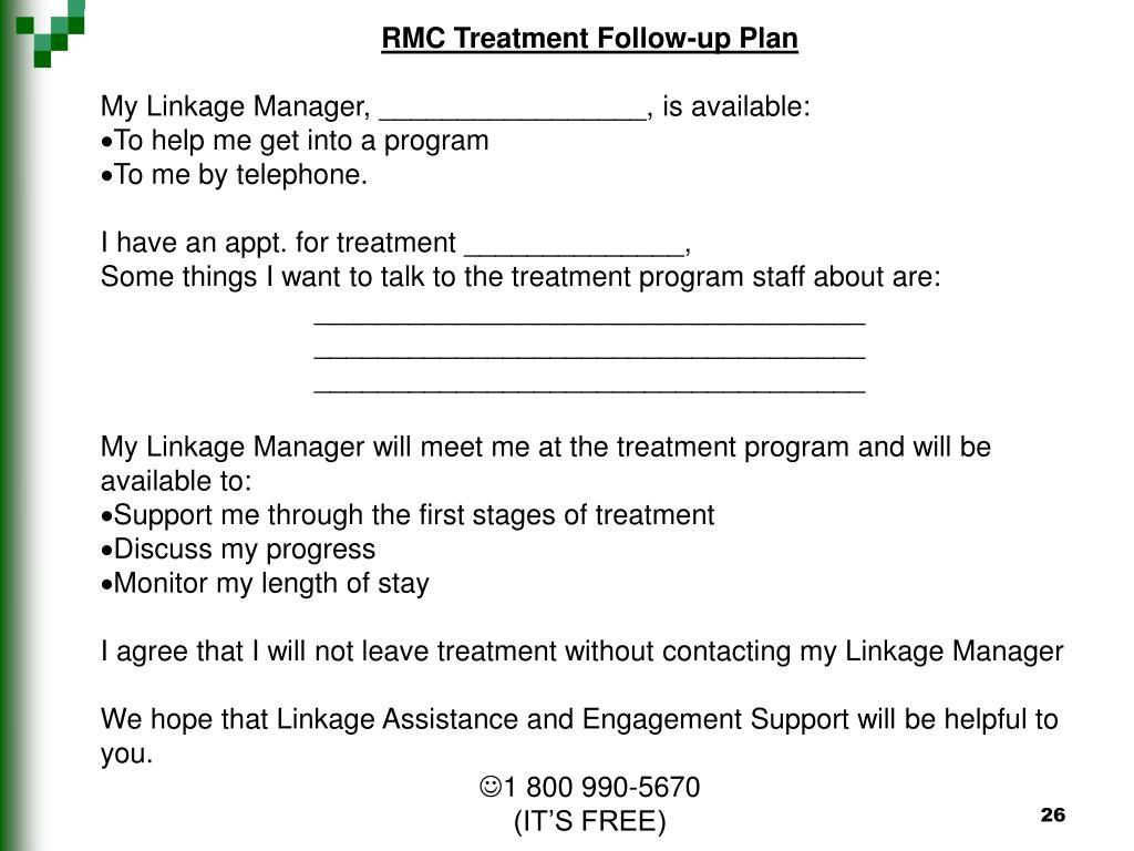 RMC Treatment Follow-up Plan
