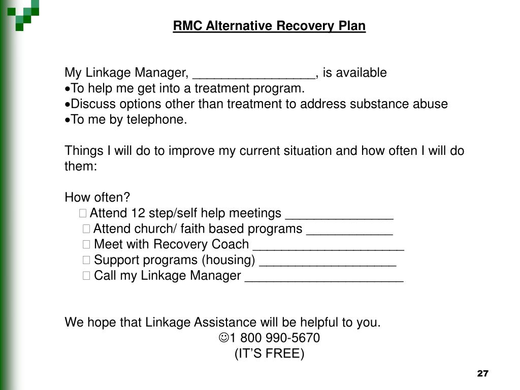RMC Alternative Recovery Plan