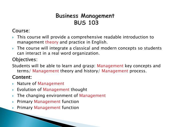 Business management bus 103