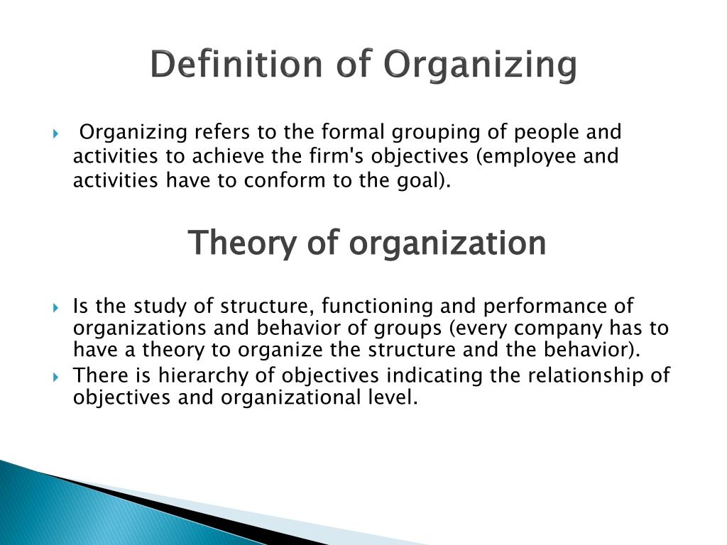 Definition of Organizing