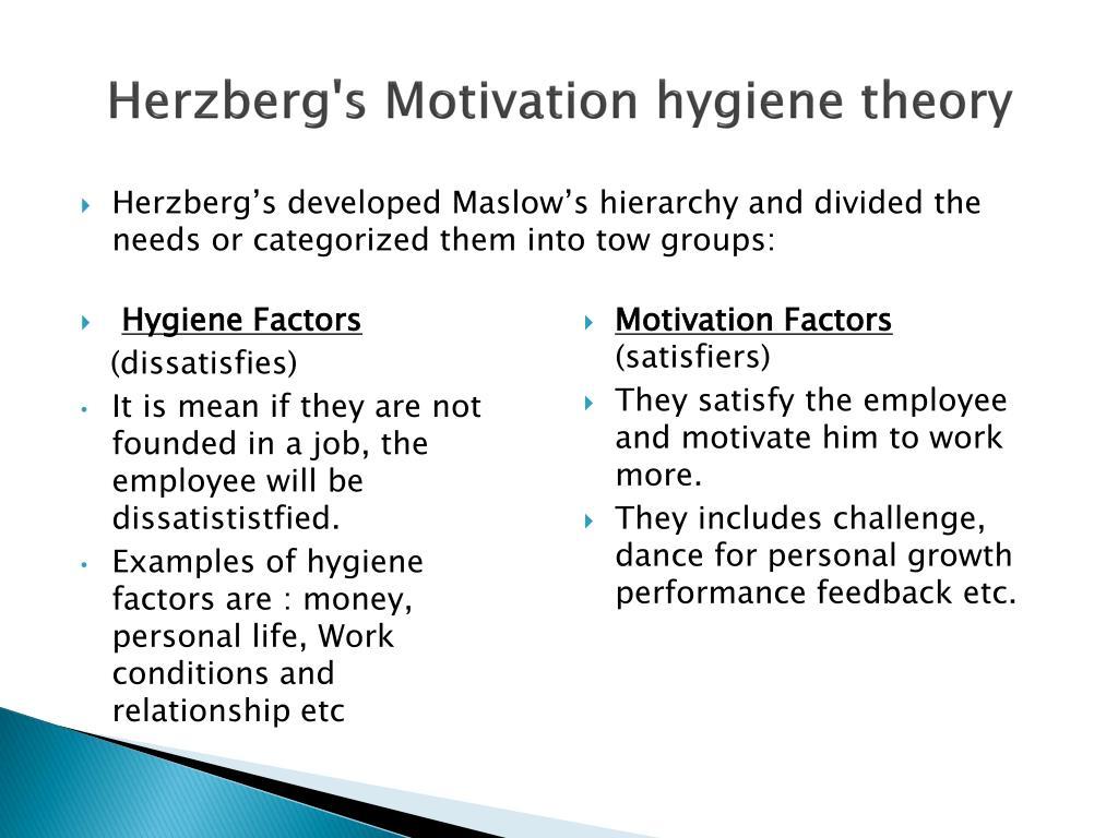 Herzberg's Motivation hygiene theory