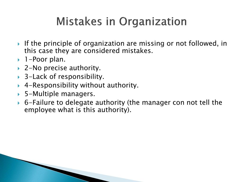 Mistakes in Organization