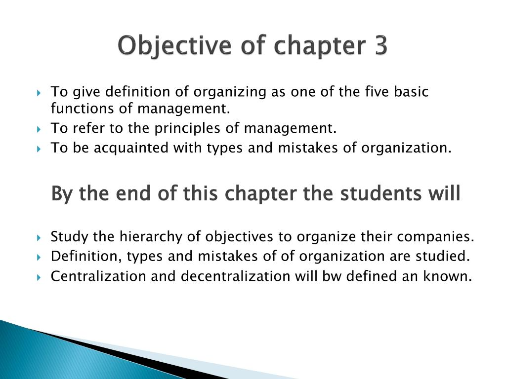 Objective of chapter 3