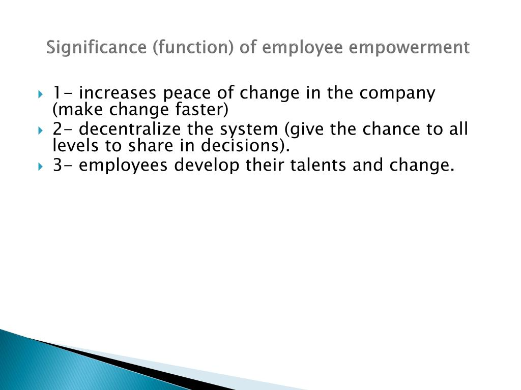 Significance (function) of employee empowerment