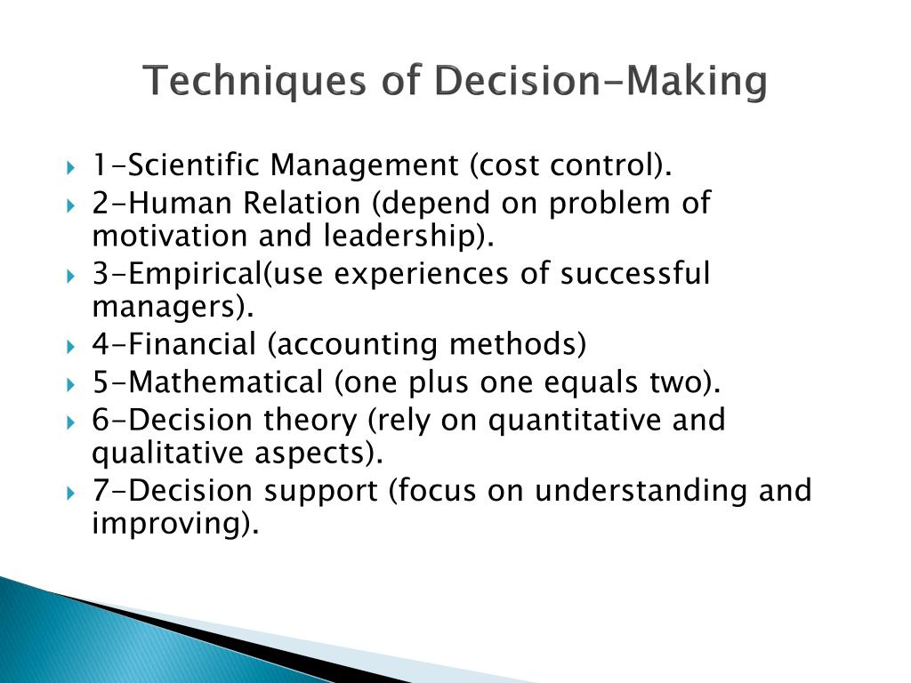 Techniques of Decision-Making