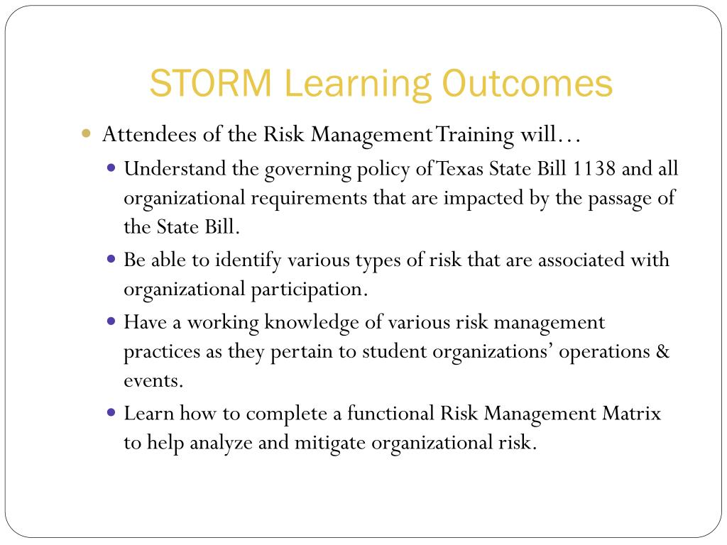 STORM Learning Outcomes