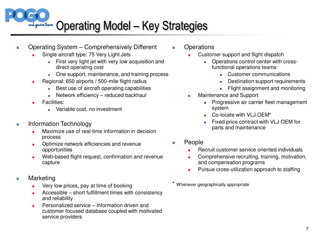 Operating Model – Key Strategies