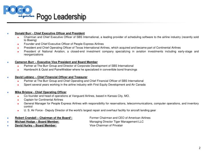 Pogo leadership