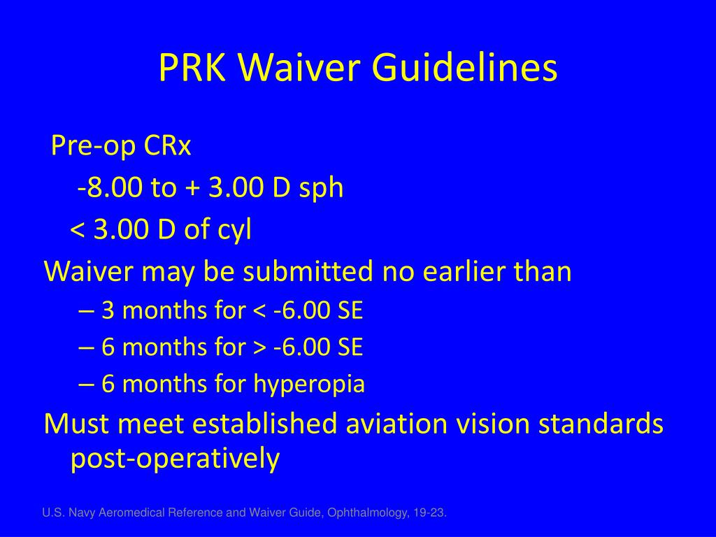 PRK Waiver Guidelines