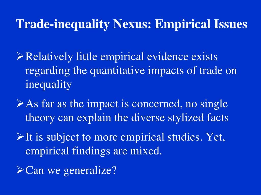 Trade-inequality Nexus: Empirical Issues