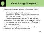 voice recognition cont