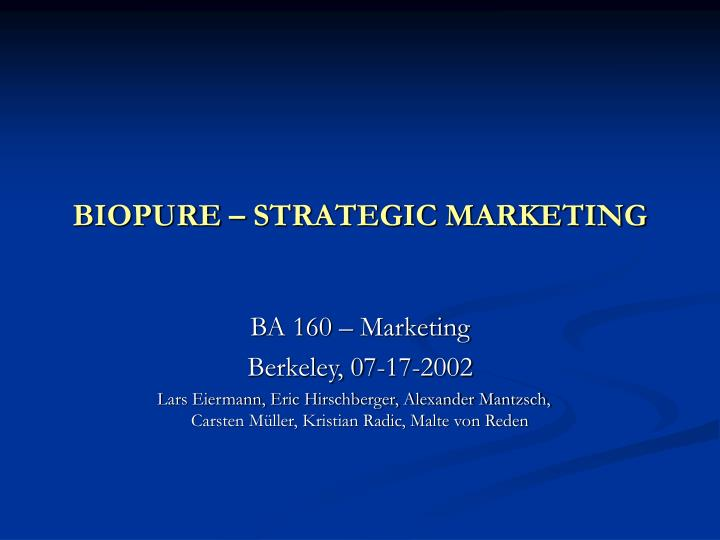 Biopure strategic marketing