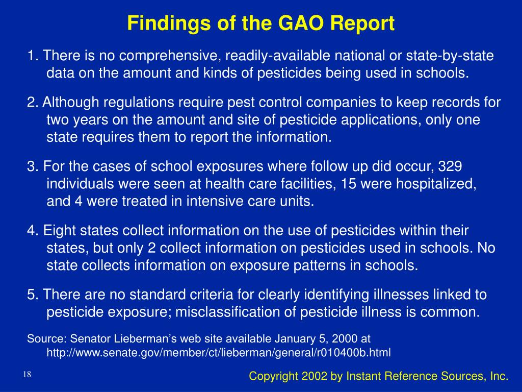 Findings of the GAO Report