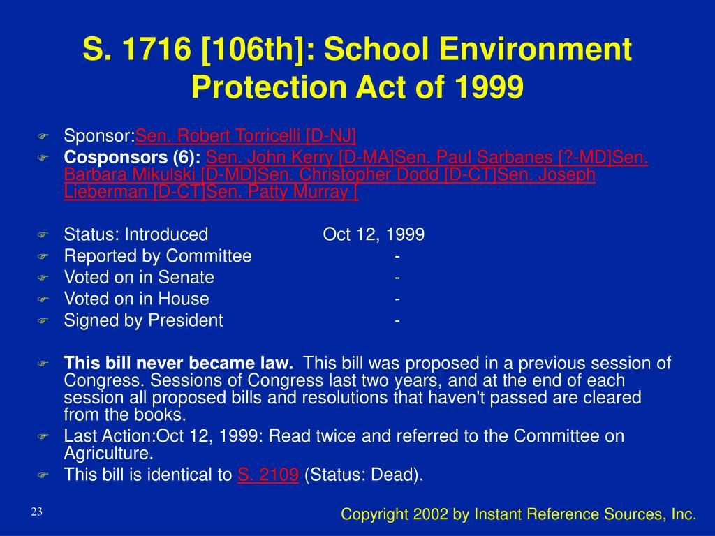 S. 1716 [106th]: School Environment Protection Act of 1999