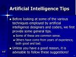 artificial intelligence tips