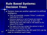 rule based systems decision trees