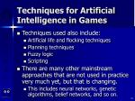 techniques for artificial intelligence in games54