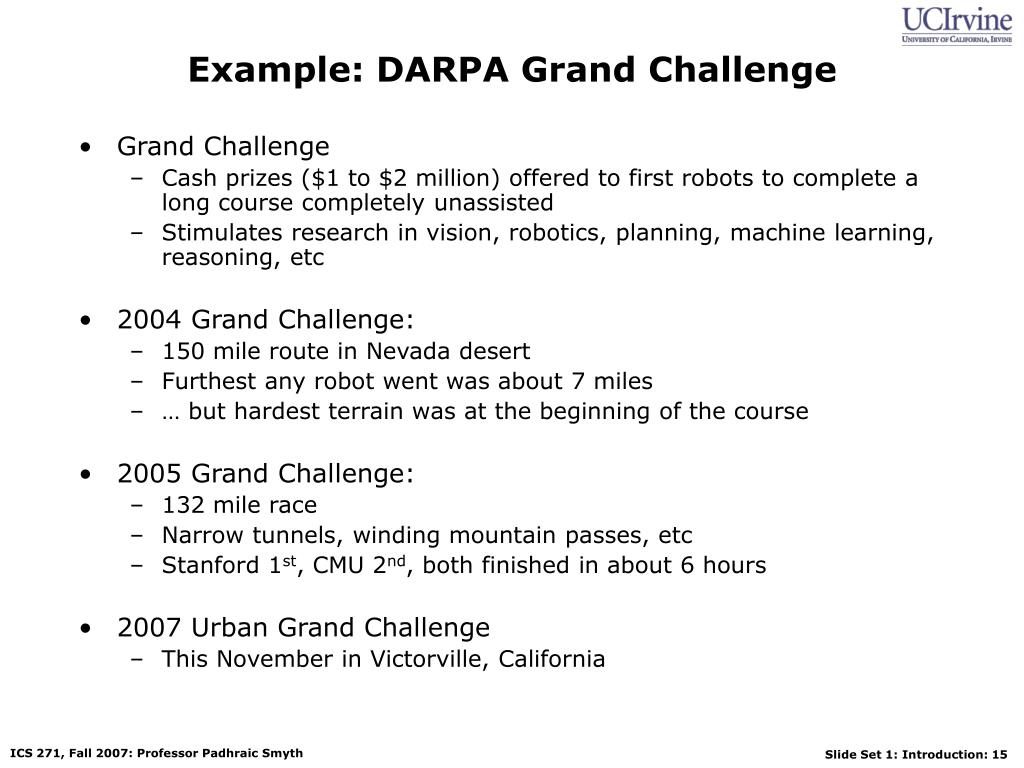 Example: DARPA Grand Challenge