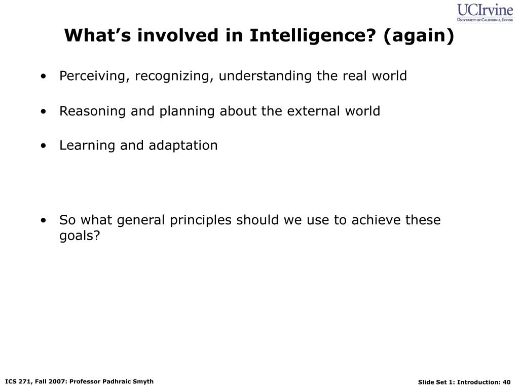 What's involved in Intelligence? (again)