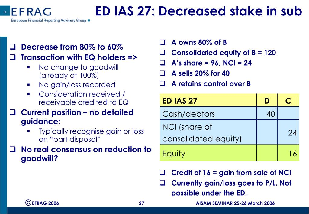 ED IAS 27: Decreased stake in sub