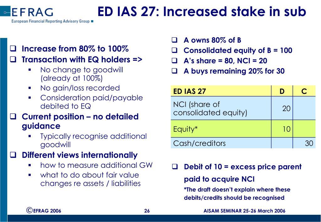ED IAS 27: Increased stake in sub