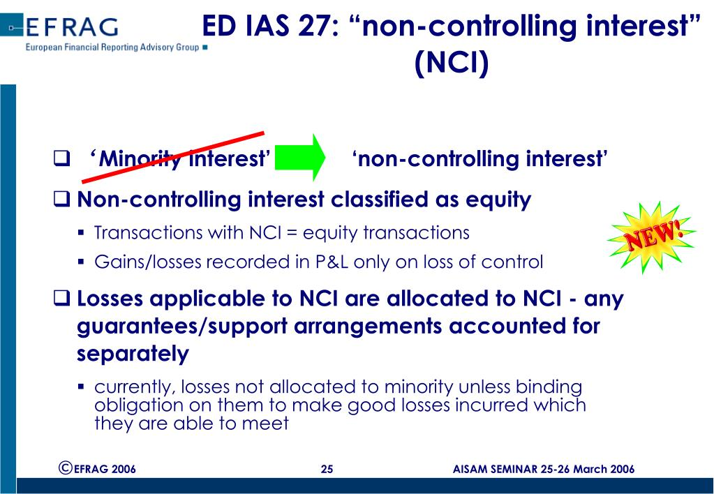 "ED IAS 27: ""non-controlling interest"" (NCI)"