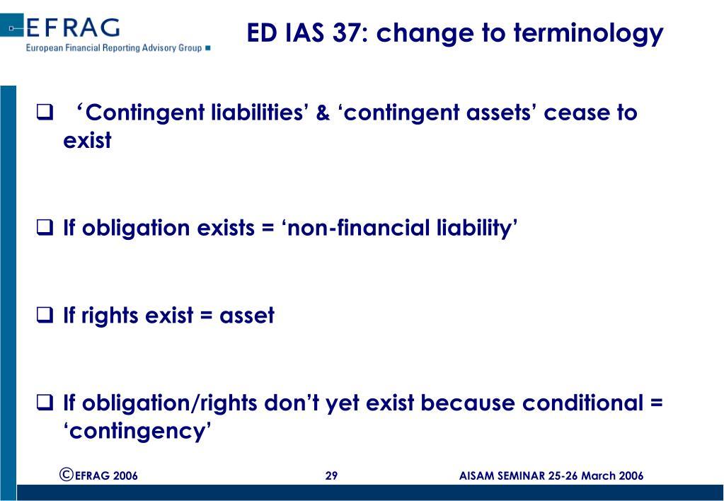 ED IAS 37: change to terminology