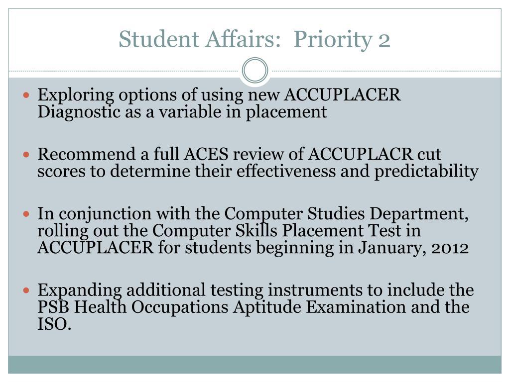 Student Affairs:  Priority 2
