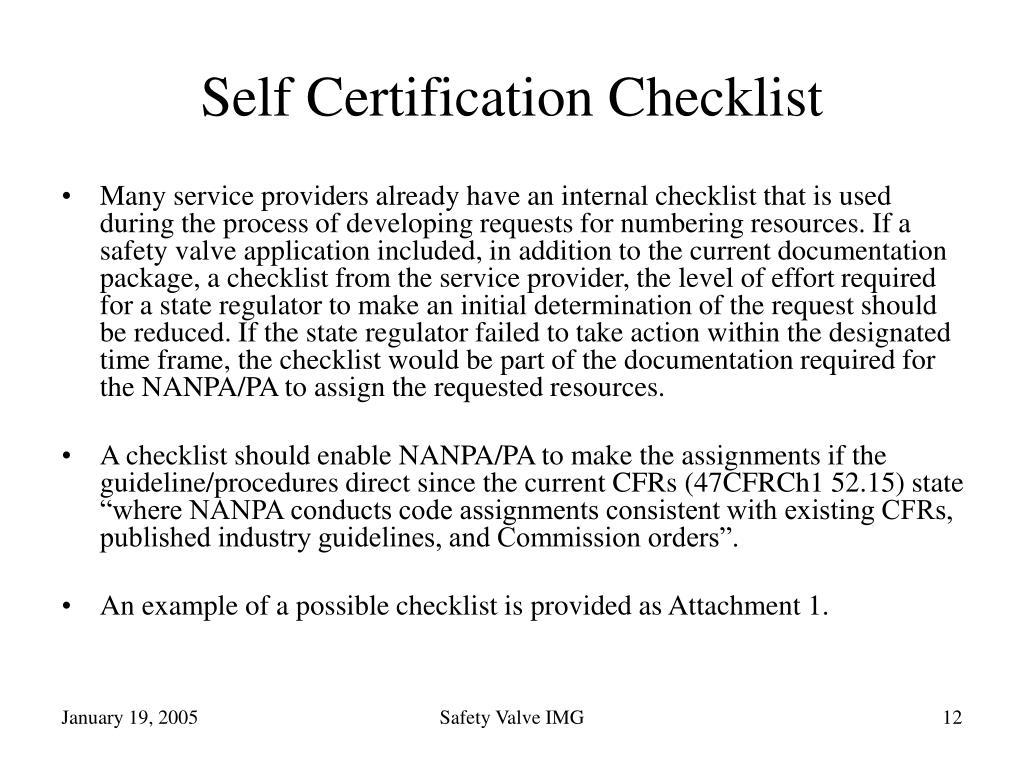 Self Certification Checklist