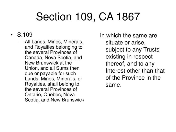 Section 109 ca 1867