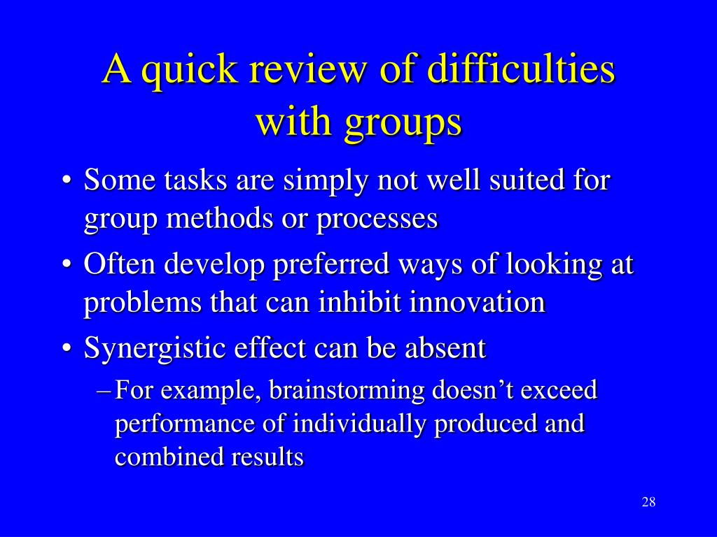 A quick review of difficulties with groups