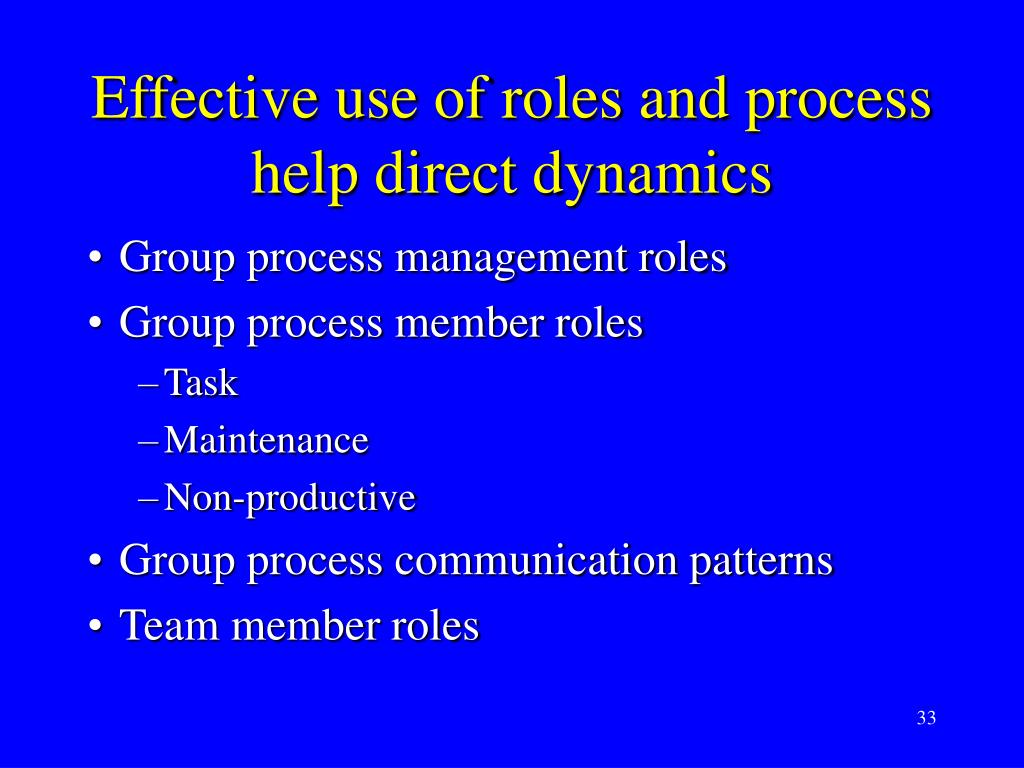 Effective use of roles and process help direct dynamics