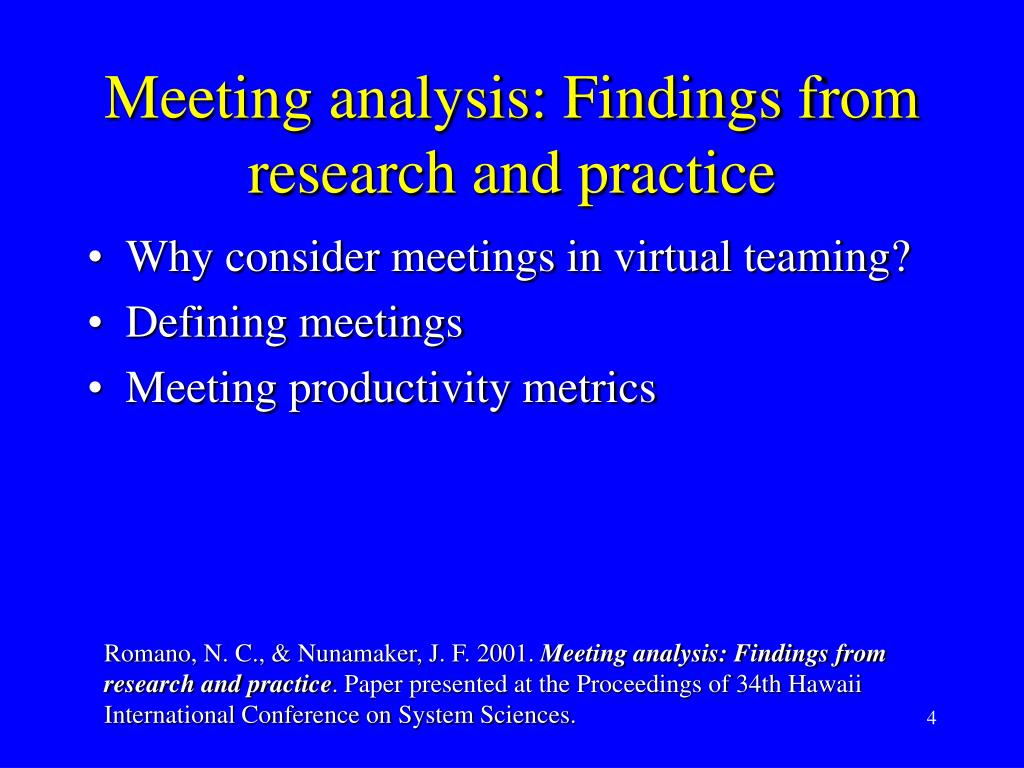 Meeting analysis: Findings from research and practice