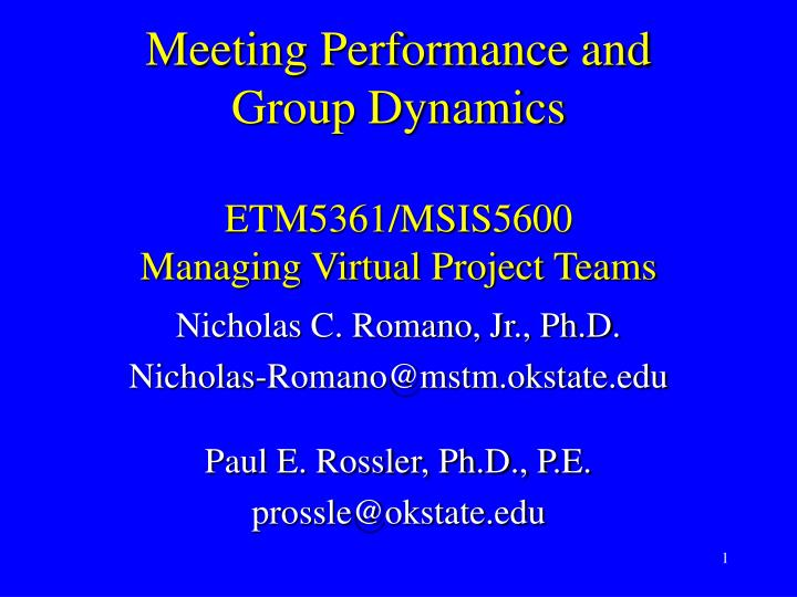 Meeting performance and group dynamics etm5361 msis5600 managing virtual project teams