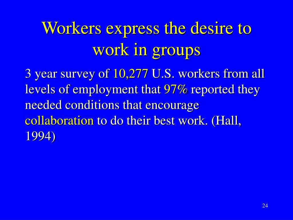 Workers express the desire to work in groups