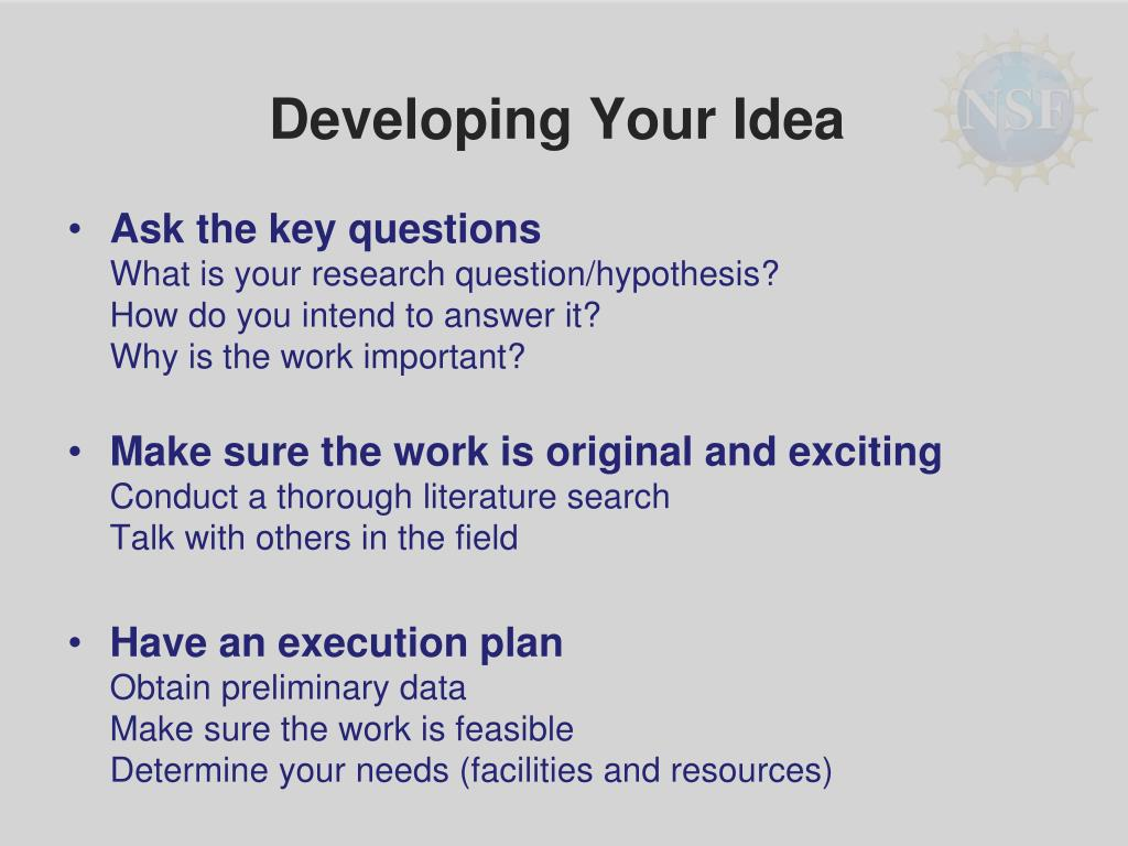 Developing Your Idea