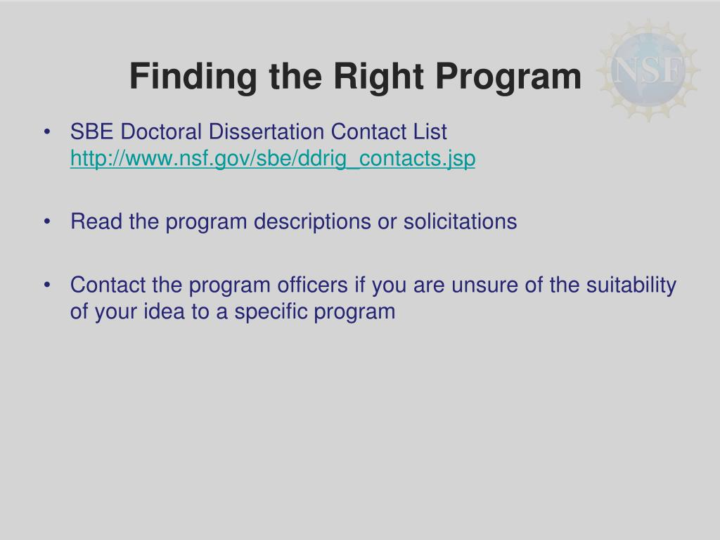 Finding the Right Program