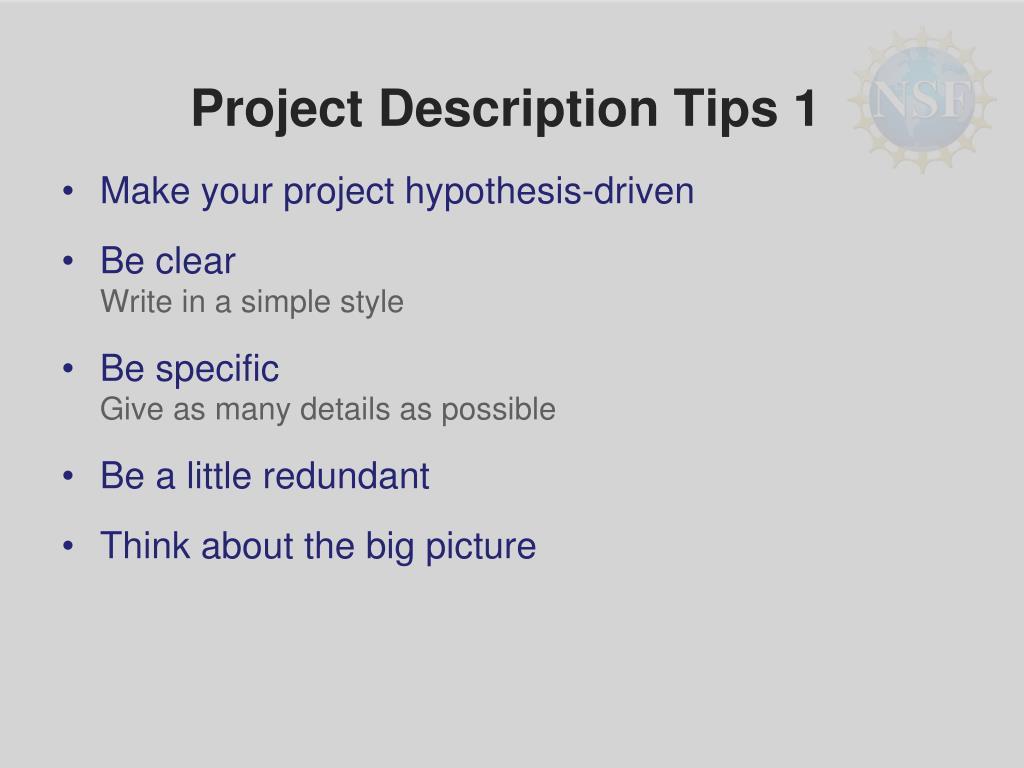 Project Description Tips 1