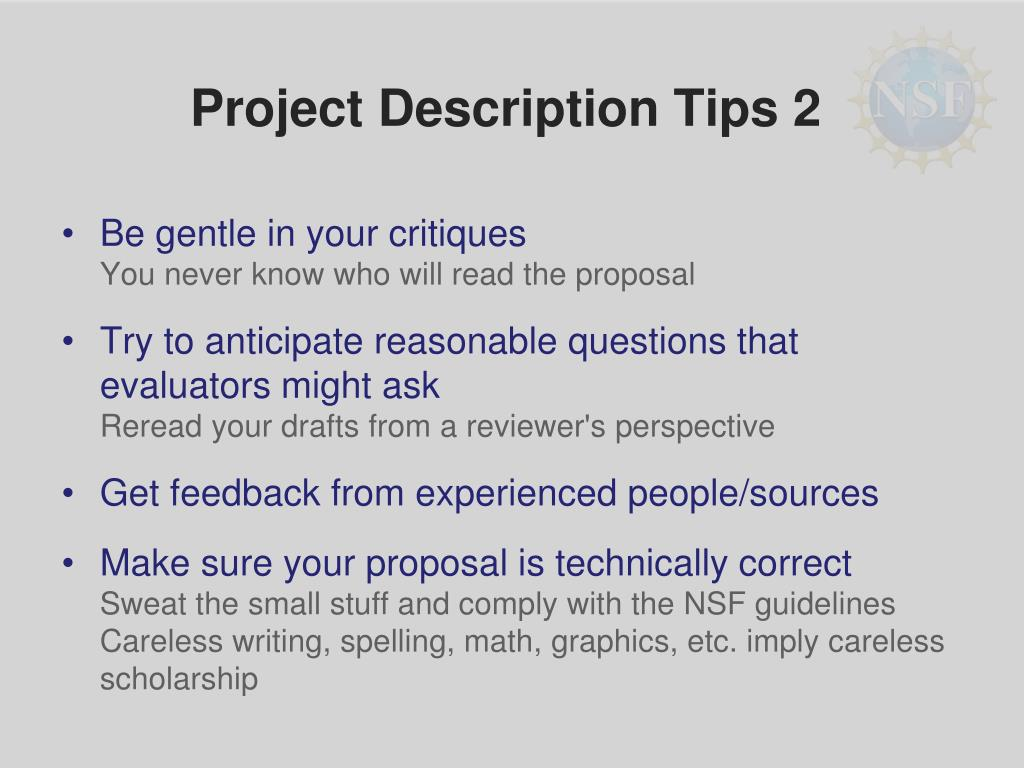 Project Description Tips 2