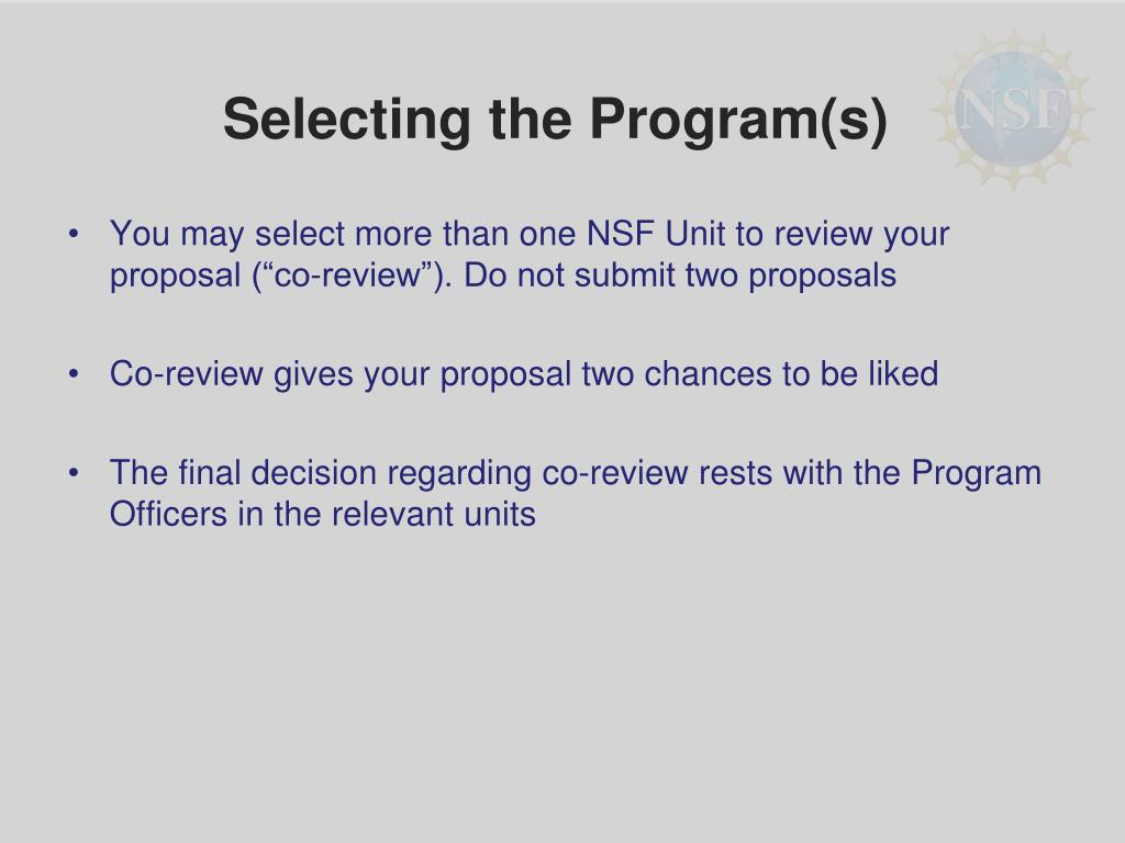 Selecting the Program(s)