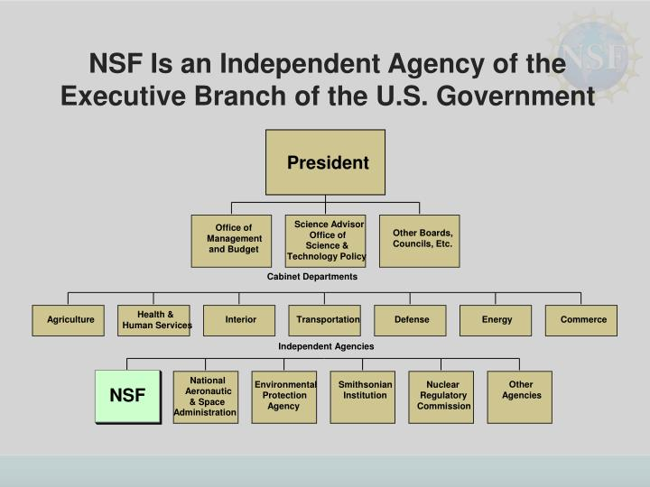 NSF Is an Independent Agency of the