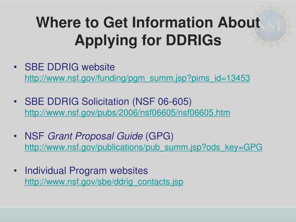 Where to Get Information About Applying for DDRIGs
