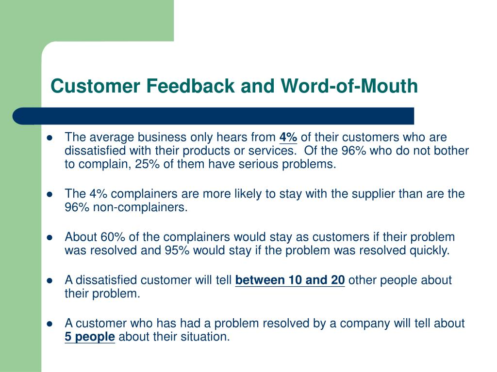 Customer Feedback and Word-of-Mouth