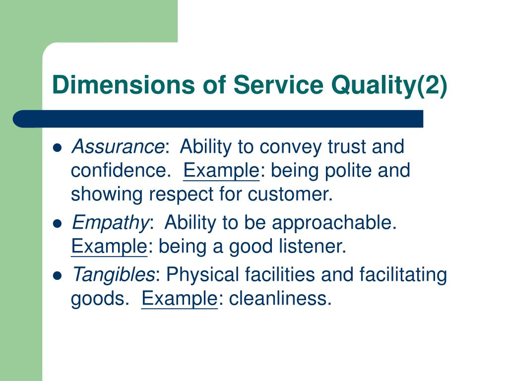 Dimensions of Service Quality(2)