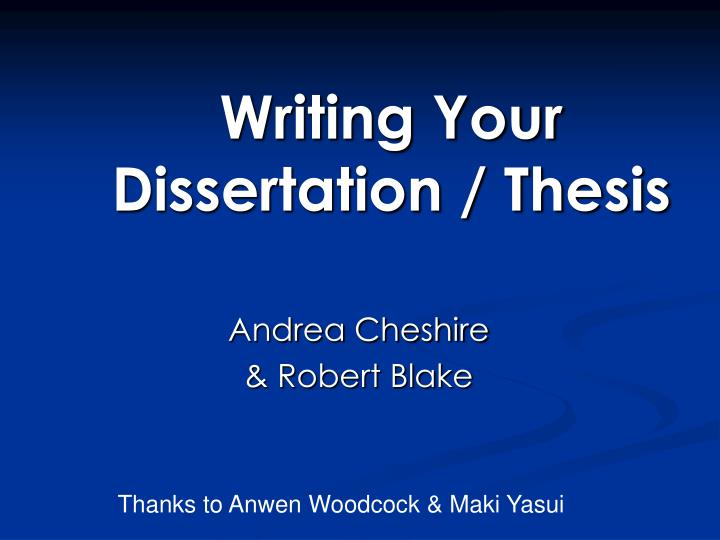 writing your dissertation thesis n.