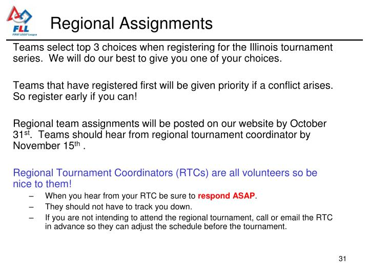 Regional Assignments