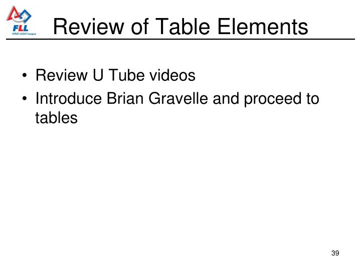 Review of Table Elements